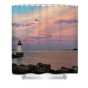 Coast Guard Rescue Over Winter Island Shower Curtain by Jeff Folger