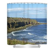 coastal bay at Cove with cliffs Shower Curtain