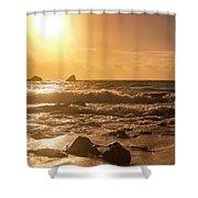 Coastal Sunrise Silhouette Shower Curtain