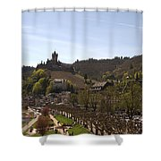 Cochem Main Street And Castle In Springtime In Germany Shower Curtain