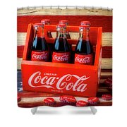 Coke And American Flag Shower Curtain