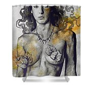Colony Collapse Disorder - Gold - Nude Warrior Woman With Autumn Leaves Shower Curtain