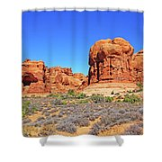 Colorado Arches Park Landscape Scrub Red Rocks Blue Sky 3335 Shower Curtain