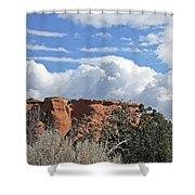 Colorado National Monument Colorado Blue Sky Red Rocks Clouds Trees Shower Curtain