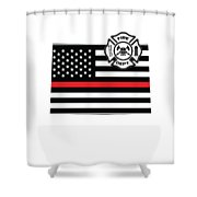 Colorado Firefighter Shield Thin Red Line Flag Shower Curtain