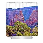 Colorado National Monument Colorado Blue Sky Red Rocks Clouds Trees 2 10212018 2871.jpg Shower Curtain
