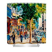 Colorful Cafe Painting Irish Pubs Bistros Bars Diners Delis Downtown C Spandau Montreal Eats         Shower Curtain