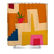 Colorful Geometric House 2- Art By Linda Woods Shower Curtain