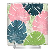Colorful Palm Leaves 1- Art By Linda Woods Shower Curtain