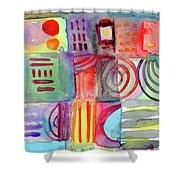 Colorful Patchwork 1- Art By Linda Woods Shower Curtain