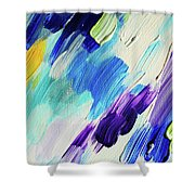 Colorful Rain Fragment 1. Abstract Painting Shower Curtain