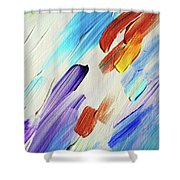 Colorful Rain Fragment 3. Abstract Painting Shower Curtain