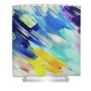 Colorful Rain Fragment 5. Abstract Painting Shower Curtain