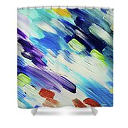 Colorful Rain Fragment 6. Abstract Painting Shower Curtain