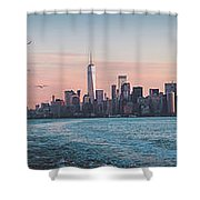 Colorful Sunrise Over The New York Skyline And The Statue Of Lib Shower Curtain