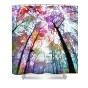 Colorful Trees Xiii Shower Curtain