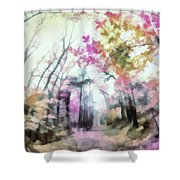 Colorful Trees Xiv Shower Curtain