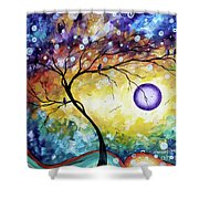 Colorful Whimsical Original Landscape Tree Painting Purple Reign By Megan Duncanson Shower Curtain