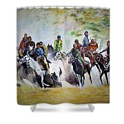 Colors In Buzkash Sport Shower Curtain
