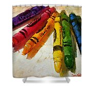 Colorwheel Crayons Shower Curtain