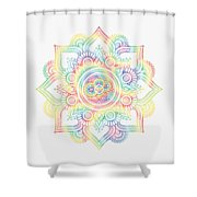 Colourful Rainbow Mandala Lavender Shower Curtain