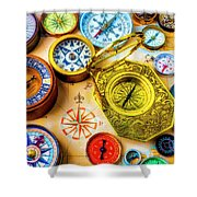 Compass And Compass Rose Shower Curtain