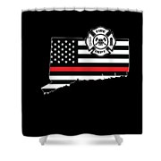 Connecticut Firefighter Shield Thin Red Line Flag Shower Curtain