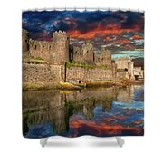 Conwy Castle Sunset Shower Curtain by Adrian Evans