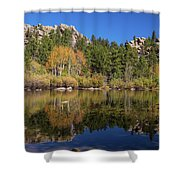 Cool Calm Rocky Mountains Autumn Reflections Shower Curtain
