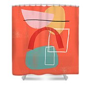 Coral Modern Abstract 2- Art By Linda Woods Shower Curtain