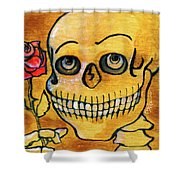 Corazon Sugarskull Holding Rose Shower Curtain