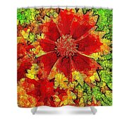 Coreopsis Abstract Shower Curtain