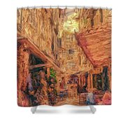 Corfu Town Street Scene Shower Curtain