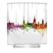 Cork, Stockholm And Gothenburg Skyline Mashup Shower Curtain