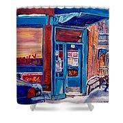 Corner Cafe Clark And Fairmount Wilensky's Winter Scene Habs Hockey Art C Spandau Quebec Artist Shower Curtain