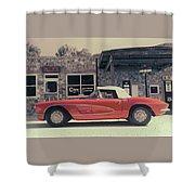 Corvette Cafe - C1 - Vintage Film Shower Curtain