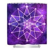 Cosmic Purple Geometric Seed Of Life Crystal Lotus Star Mandala Shower Curtain
