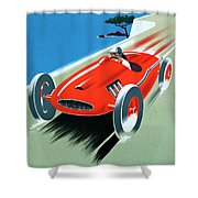 Cote D Azur, French Rivera Vintage Racing Poster Shower Curtain