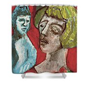 Couple In Front Of Red Wall Shower Curtain