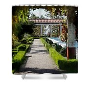 Painted Texture Courtyard Landscape Getty Villa California  Shower Curtain