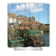Crail Harbour And Lobster Pots Shower Curtain