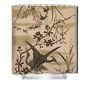 Cranes And Birds At Pond 1880 Shower Curtain