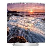 Crashing Waves At Sunrise, Nubble Light.  Shower Curtain by Jeff Sinon