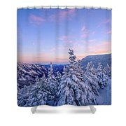 Crawford Notch Winter View. Shower Curtain by Jeff Sinon