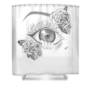 Creepy Eye And Rose Shower Curtain by Marissa McAlister