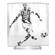 Cristiano Ronaldo Juventus Water Color Pixel Art 1 Shower Curtain