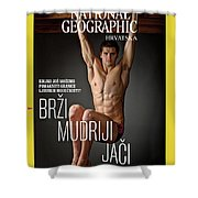 Croatian Cover Of The July 2018 National Geographic Magazine Shower Curtain