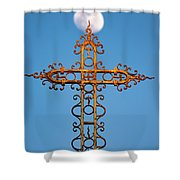 Cross In Front Of The Moon Shower Curtain by Fabrizio Troiani