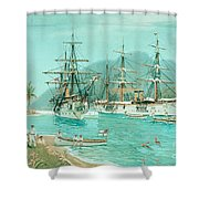 Cruiser And Gunboat Hoist On Ponape The German Flag Shower Curtain