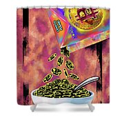Crypto Flakes Red Shower Curtain
